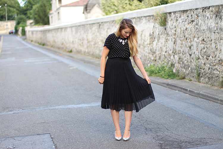tiboudnez look vintage jupe midi dots pois mode look blogueuse mode